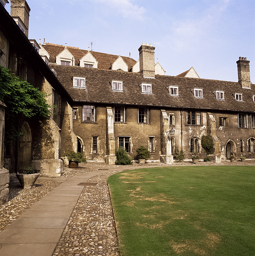 Oldest quadrangle, Old Court, Corpus Christi, Cambridge, Cambridgeshire, England, United Kingdom, Europe
