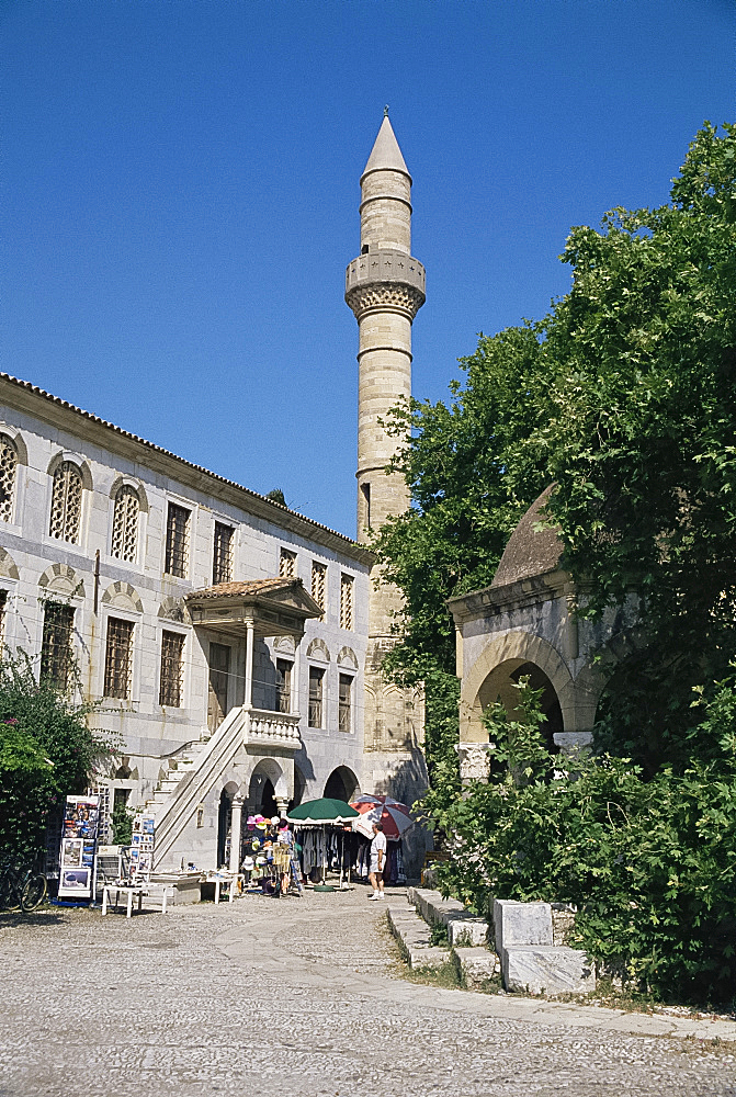 Plane Tree Square and mosque, Kos, Dodecanese Islands, Greece, Europe - 322-3714