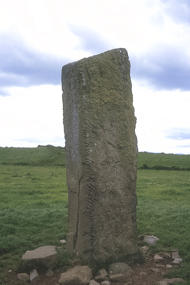 Standing stone carved with Ogham script, Breastagh, Co Mayo, Ireland *** Local Caption ***
