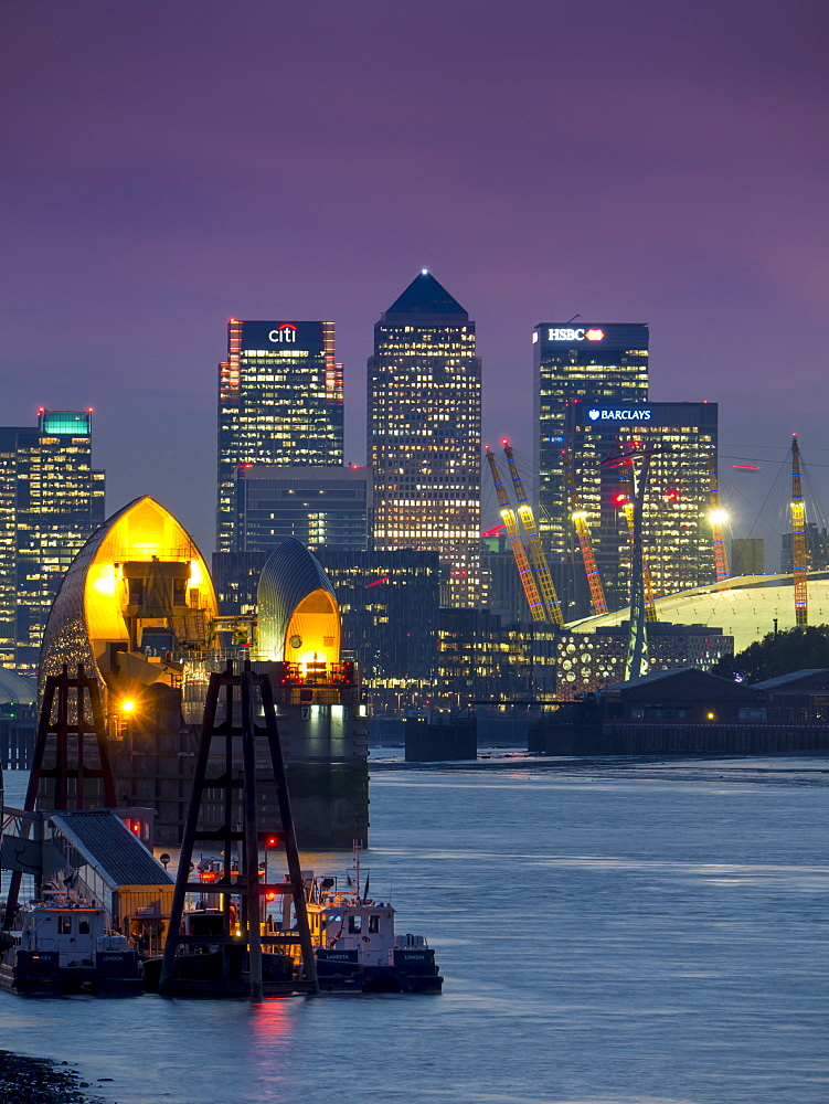 Canary Wharf and Docklands skyline from Woolwich, London, England, United Kingdom, Europe  - 367-5990