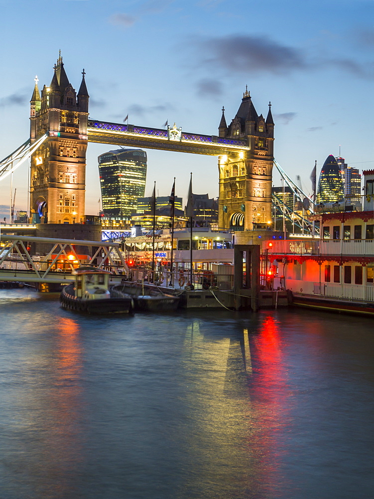 Tower Bridge, River Thames and City twilight, London, England, United Kingdom, Europe