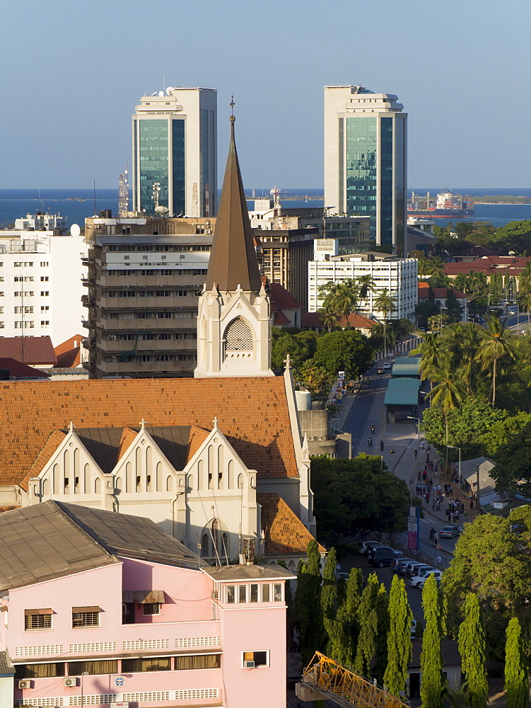 St. Joseph's Cathedral and modern buildings, Dar es Salaam, Tanzania, East Africa, Africa