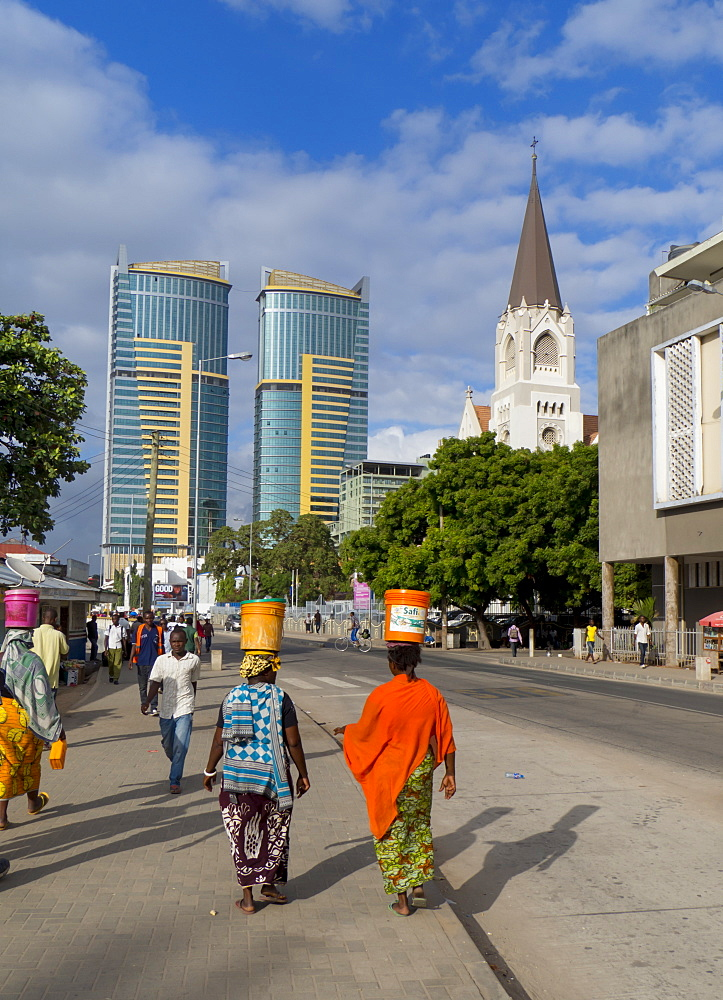 Waterfront road and St. Joseph's Cathedral, Dar es Salaam, Tanzania, East Africa, Africa