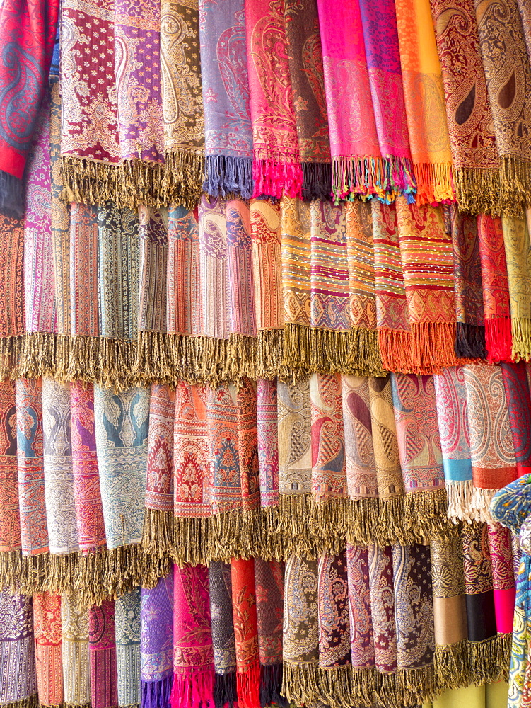 Fabric for sale, Jemaa el-Fna. Marrakech, Morocco, North Africa, Africa