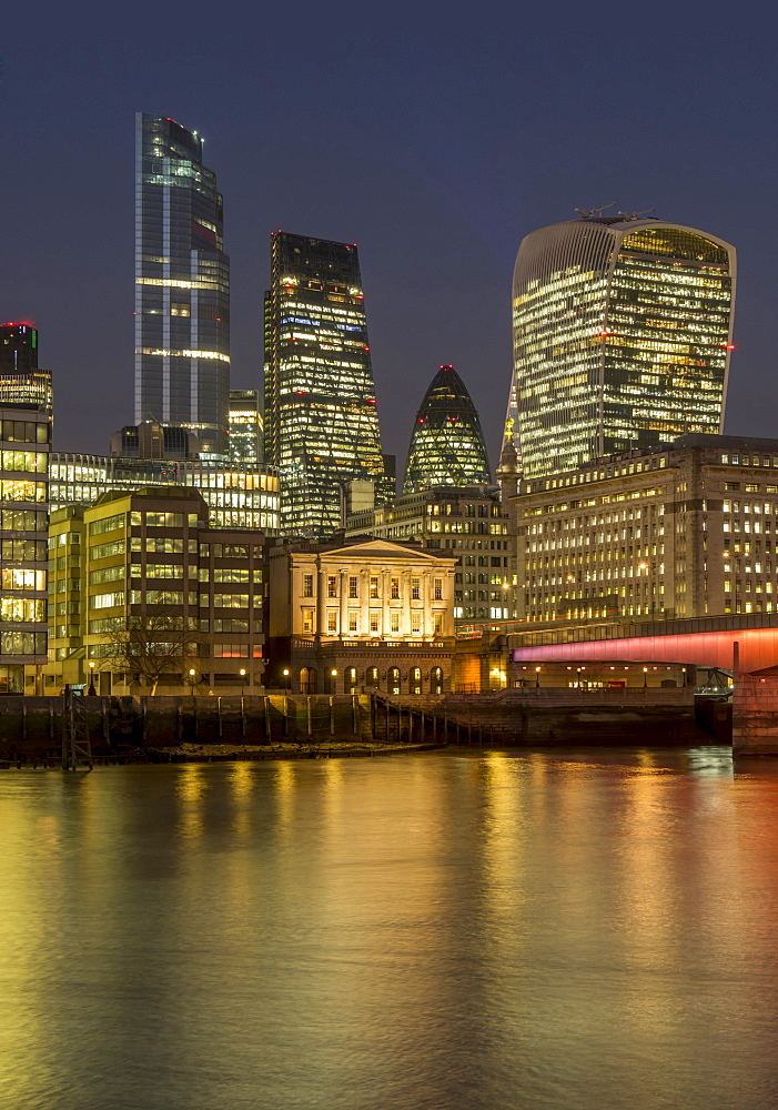 Cityscape with complete 22 Bishopsgate Tower and London Bridge dusk, London, England, United Kingdom, Europe