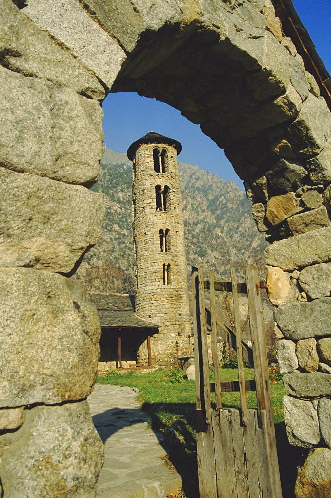 Romanesque church, 12th century bell tower, Santa Coloma, Andorra