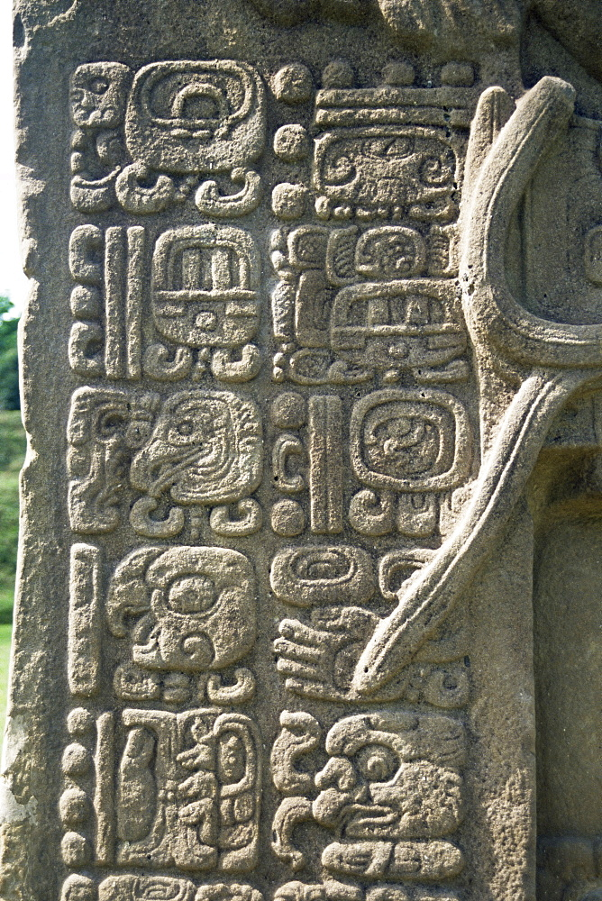 Mayan stela J, dating from 756 AD, Quirigua, UNESCO World Heritage Site, Guatemala, Central America