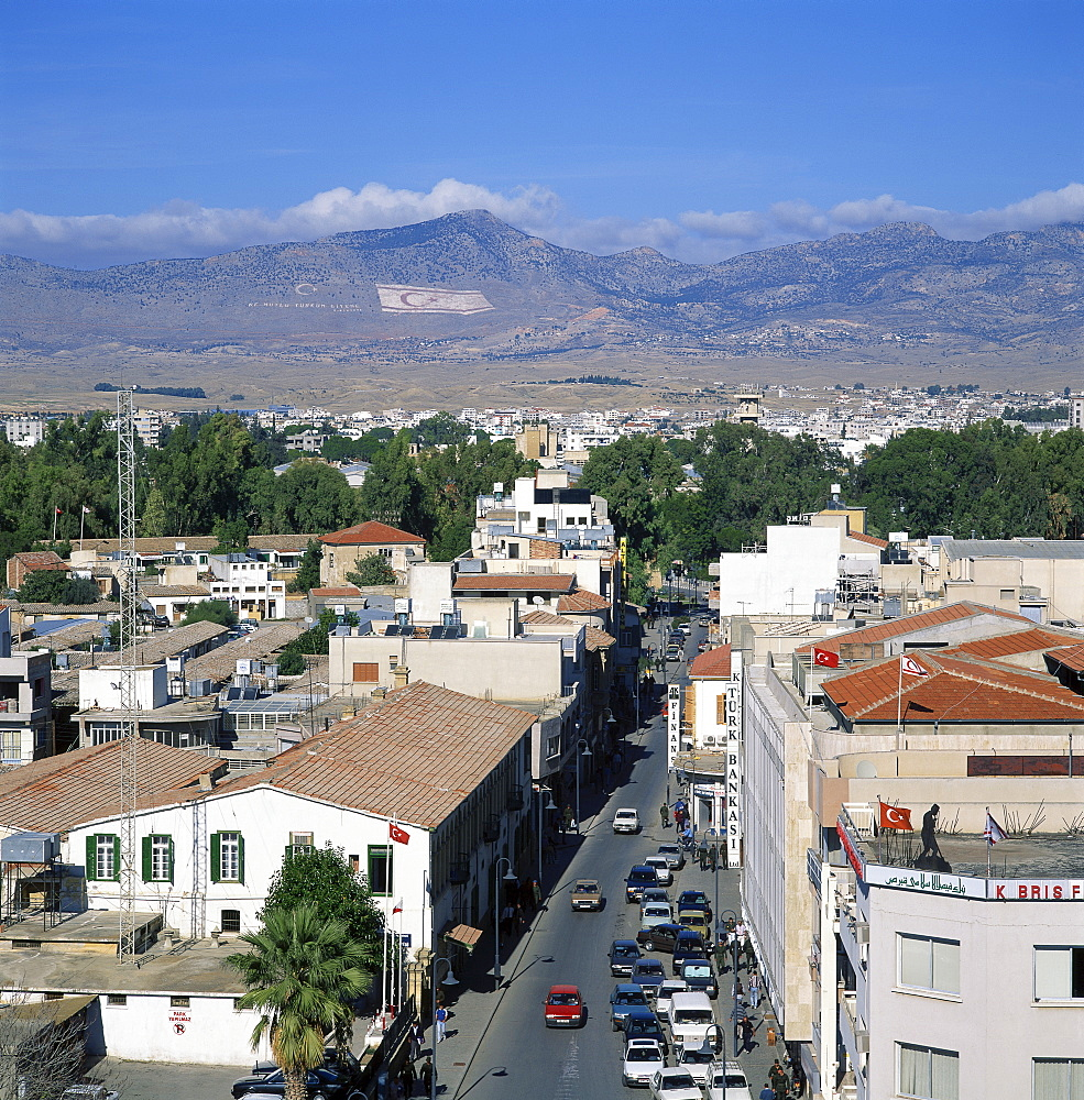 Street and rooftops of Turkish Cypriot North Nicosia with Kyrenia mountains in distance, taken from Saray Hotel, Nicosia, North Cyprus, Europe