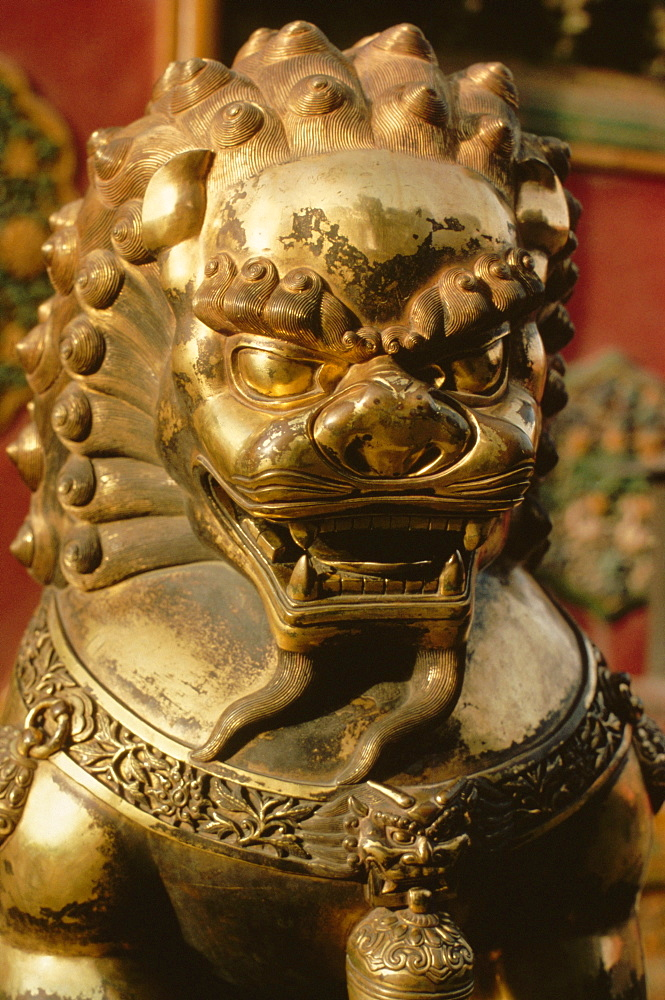Close-up of bronze lion statue, Forbidden City, Beijing, China, Asia