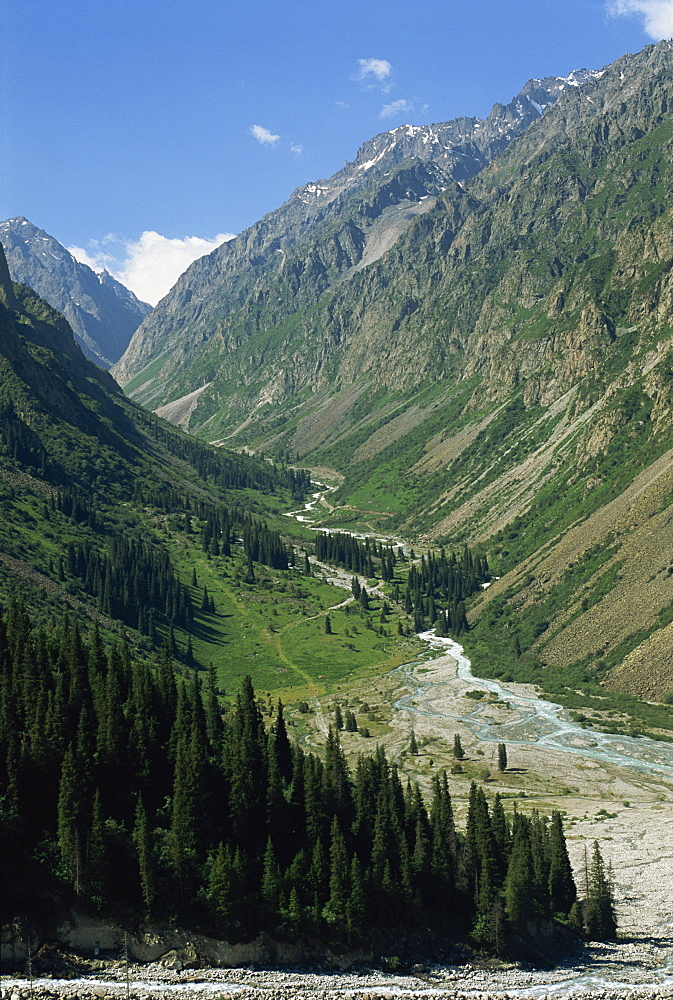 The Ala-Archa Canyon in the Tien Shan mountains in Kyrgyzstan, Central Asia, Asia