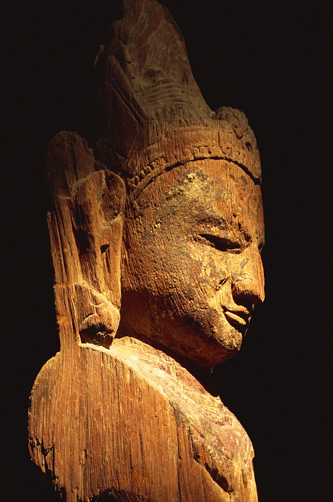 Wooden statue of Lokanatha dating from the 12th or 13th century, Bagan Museum, Bagan (Pagan), Myanmar (Burma), Asia - 450-2654