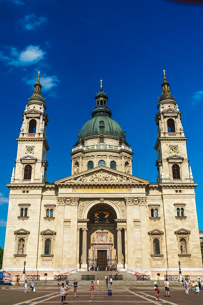 Facade of St. Stephen's Basilica, Budapest, Hungary, Europe