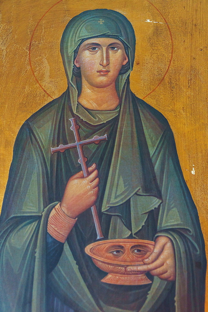 Portrait of St. Lucy, lived 283-304 AD, interior of Agios Georgios Church, Heronissos, Sifnos, Cyclades, Greek Islands, Greece, Europe - 450-4235