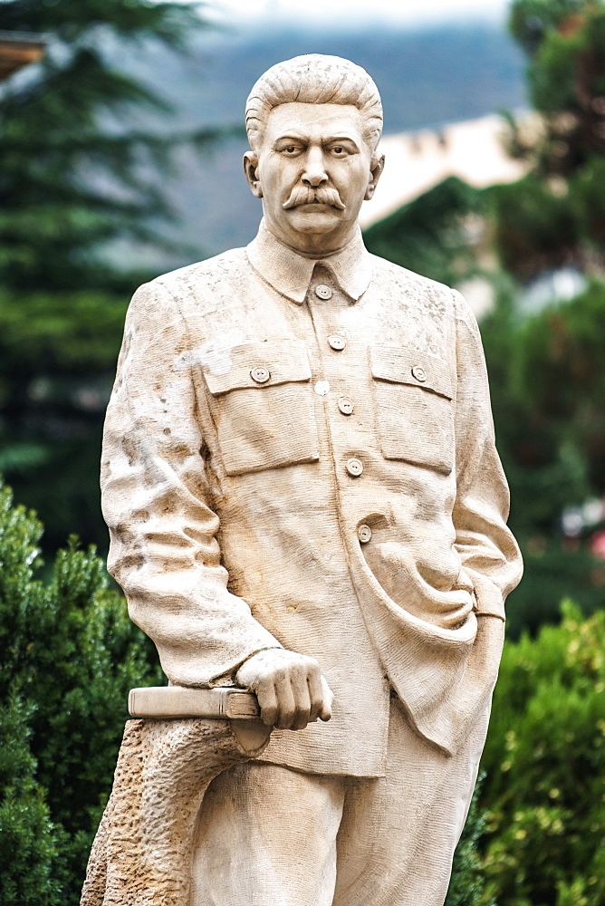 One of the few remaining standing statues of Stalin in public, Gori, his birthplace, Central Georgia, Central Asia, Asia - 450-4300