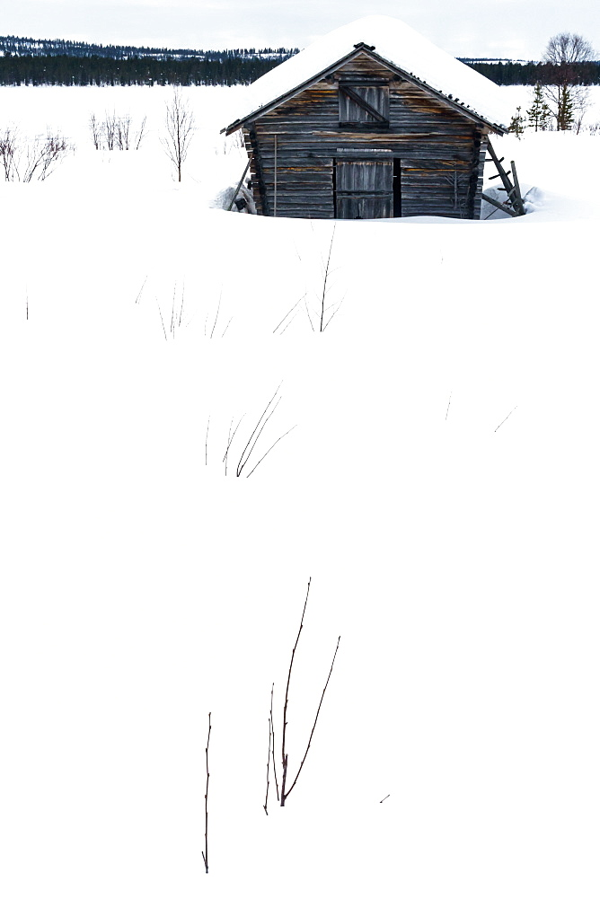 Clapboard barn buried in the snow in stark landscape, Torassieppi, Lapland, Northern Finland