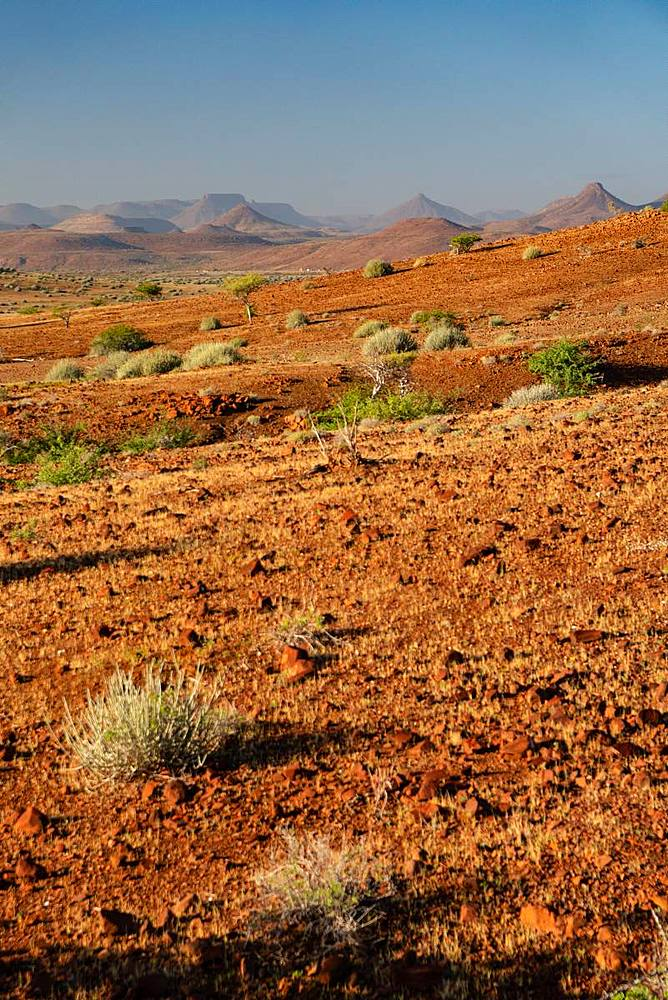 Typical red gravelly terrain, Etendeka, Namibia, Africa - 450-4357