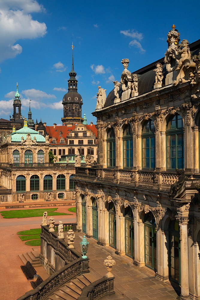 Internal courtyard of Zwinger Palace, completely rebuilt after World War 2 bombings, Dresden, Saxony, Germany, Europe - 450-4370