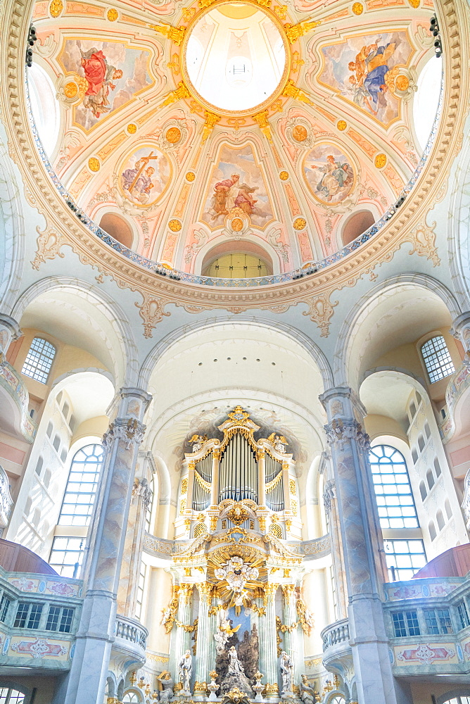 Interior of Lutheran Frauenkirche originally built in 1734 but completely destroyed and rebuilt after WW2 bombings, Dresden, Saxony, Germany, Europe