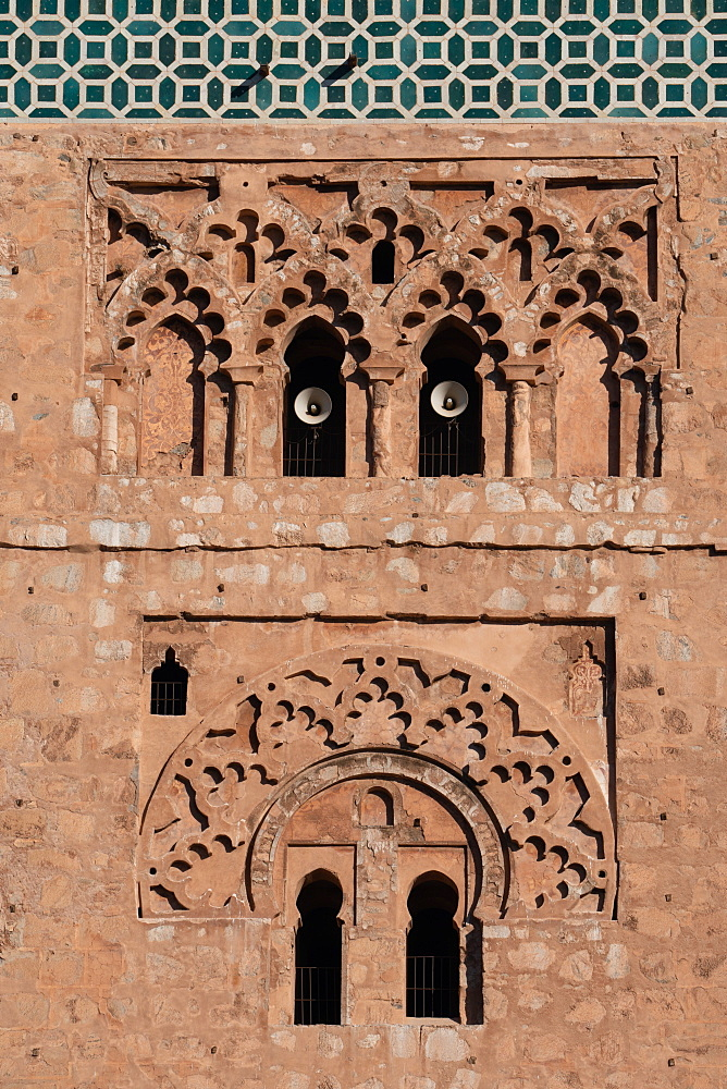 Detail of minaret of Koutoubia Mosque, with powerful muezzin speakers, Medina of Marrakesh, UNESCO World Heritage Site, Morocco