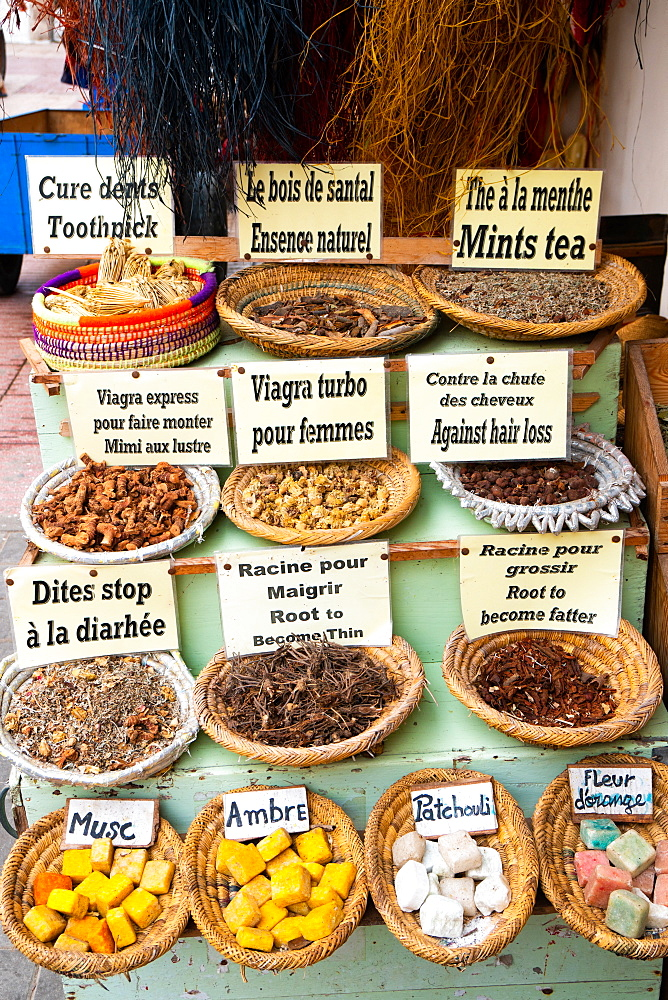 Local remedies and specialities from natural viagra to mint tea, Medina of Essaouira, UNESCO World Heritage Site, Morocco, North Africa, Africa - 450-4377