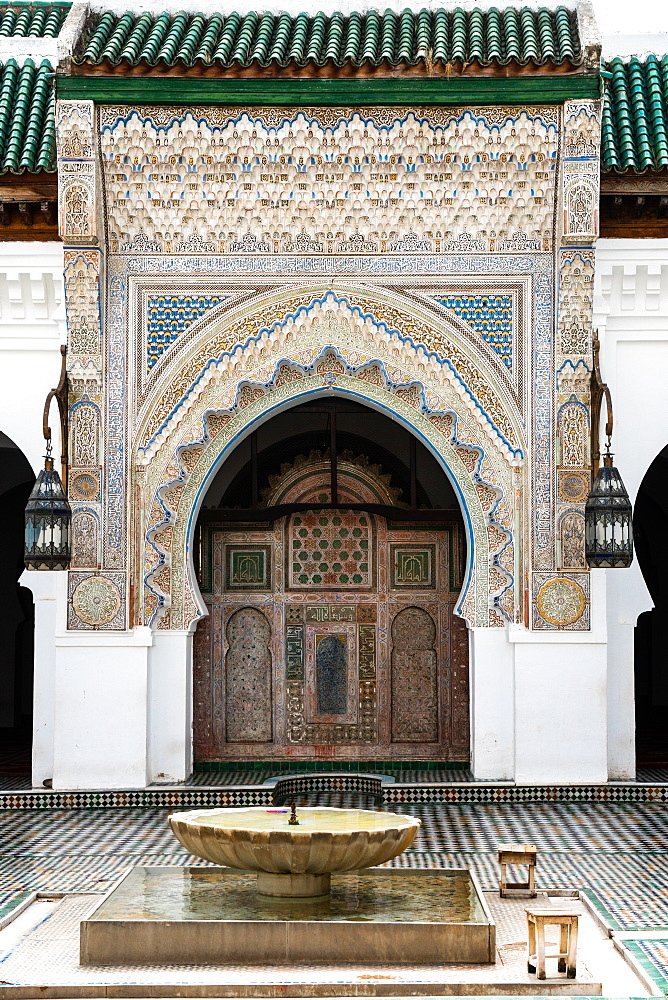 Monumental carved doorway and ablutions basin, Karaouiyine Mosque, Fez Medina, UNESCO World Heritage Site, Morocco