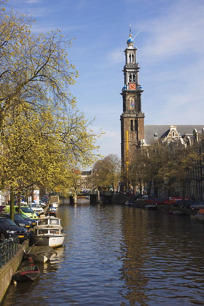Westerkerk church and the Prinsengracht canal, Amsterdam, Netherlands, Europe