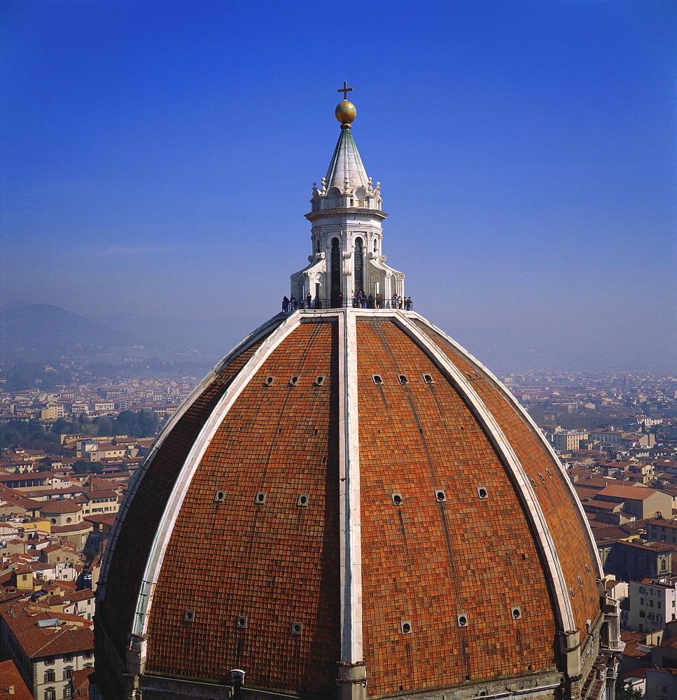 Elevated View of the Roof of the Duomo and Cityscape, Florence, Tuscany, Italy
