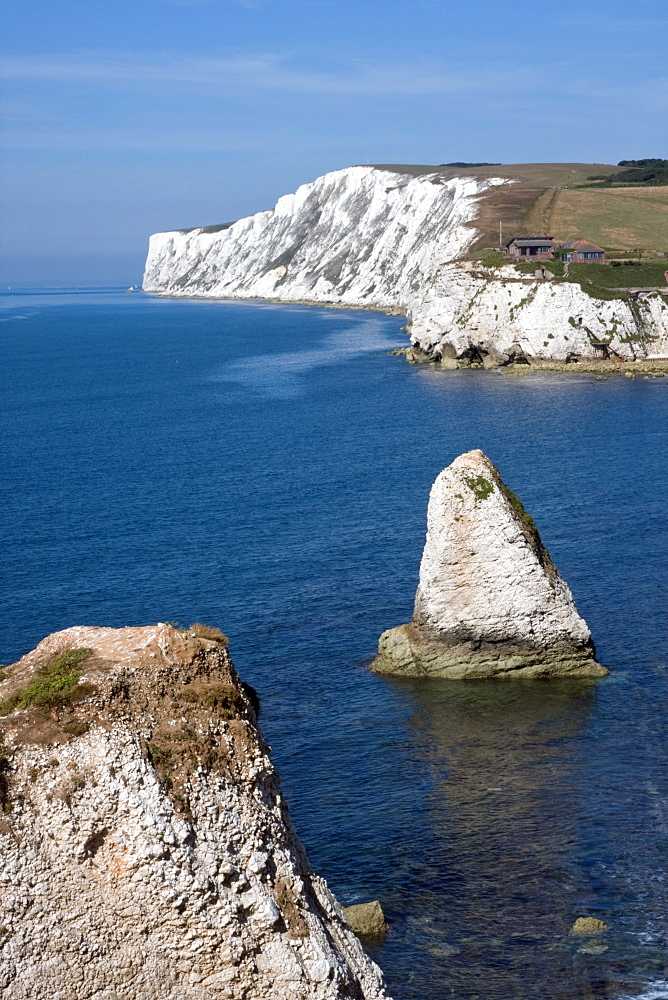Tennyson Down, Black Rock and Highdown Cliffs from Freshwater Bay, Isle of Wight, England, United Kingdom, Europe - 485-9641