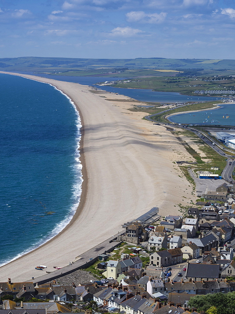 Chesil Beach and the Fleet Lagoon from Portland, Jurassic Coast, UNESCO World Heritage Site, Weymouth, Dorset, England, United Kingdom, Europe - 485-9687