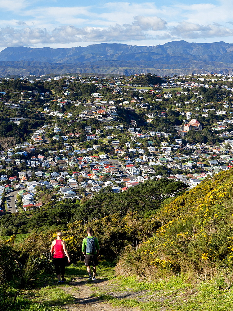 Suburbs and Rimutaka Ranges from Kingston with couple on walking track, Wellington, North Island, New Zealand, Pacific - 489-1732