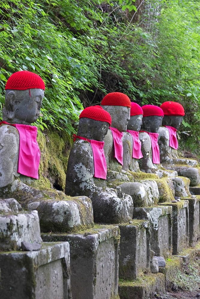 Jizo statues, Kanmangafuchi Abyss, Nikko, Japan, Asia - 489-1784