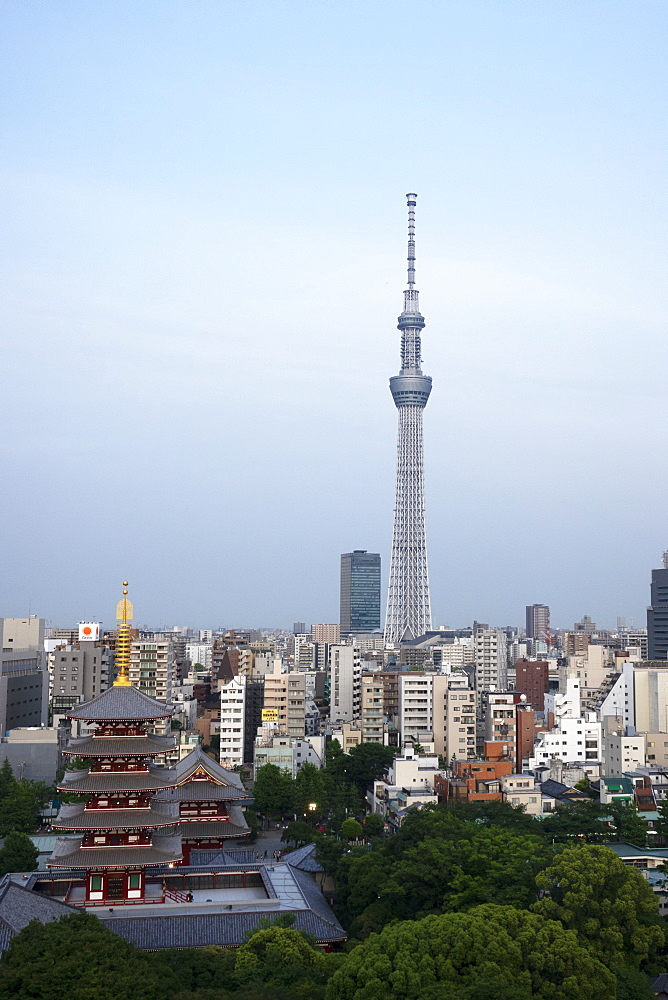 View over city with Tokyo Skytree and Five-Storied Pagoda, Tokyo, Japan, Asia - 489-1790