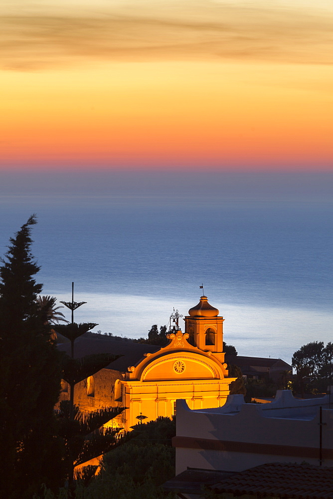Malfa, church at dusk with sea behind, Sicily, Italy, Mediterranean, Europe - 526-3833