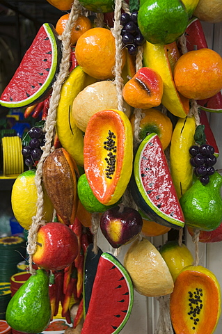 Decorative wooden fruit, Guanajuato, Guanajuato State, Mexico, North America - 641-10858