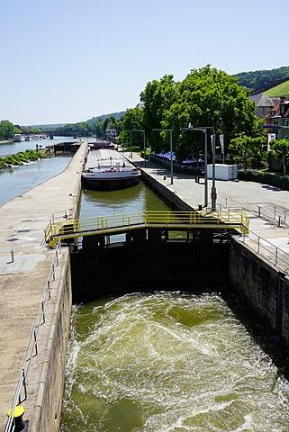 Ship in lock on River Main, Wurzburg, Bavaria, Germany, Europe