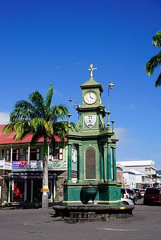 Clock Tower in the centre of capital, Piccadilly Circus, Basseterre, St. Kitts, St. Kitts and Nevis, Leeward Islands, West Indies, Caribbean, Central America