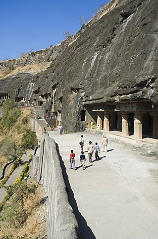 Ajanta Cave complex, Buddhist Temples carved into solid rock dating from the 5th Century BC, Ajanta, Maharastra, India