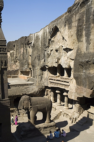 The Ellora Caves, temples cut into solid rock, near Aurangabad, Maharashtra, India
