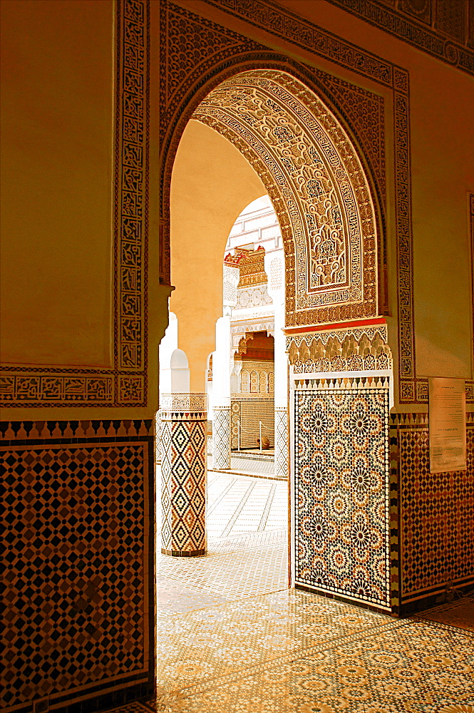 Large patio columns with azulejos decor, Islamo-Andalucian art, Marrakech Museum, Marrakech, Morocco, North Africa, Africa