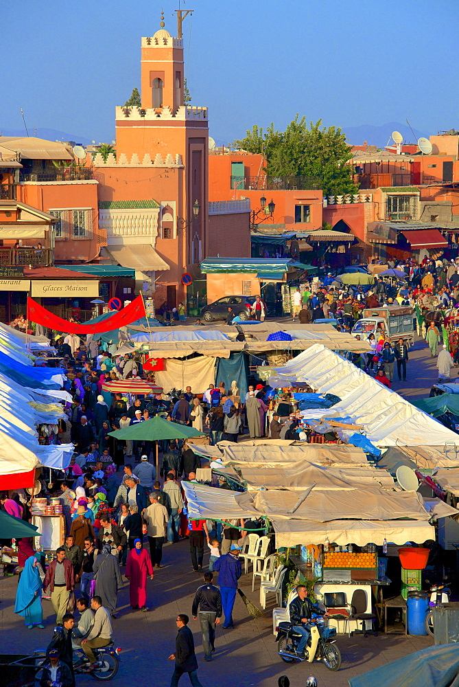 Restaurants, terraces, Kharbouch mosque and minaret, Jemaa-el-Fna Square, Marrakech, Morocco, North Africa, Africa - 665-5349