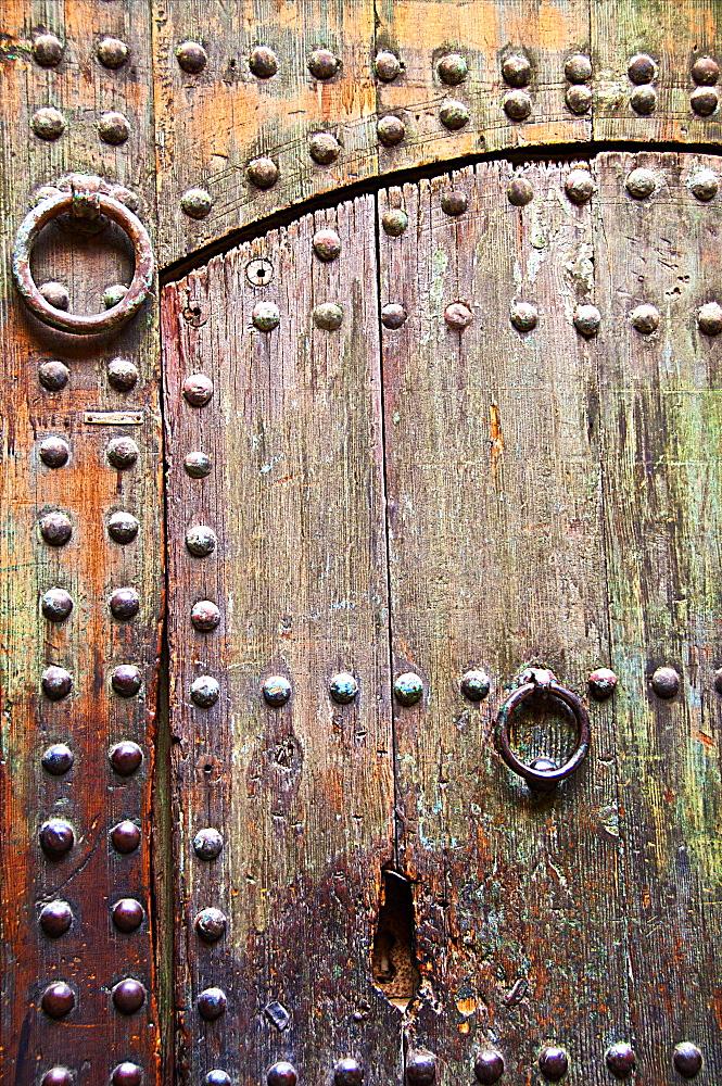 Typical wooden Moroccan door, street of Medina, Marrakech, Morocco, North Africa