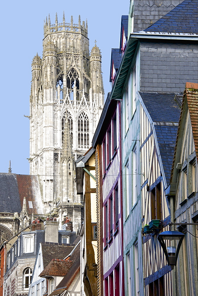 Detail of Central Tower of Saint Maclou church dating from the 15th century, and half timbered houses, Rouen, Upper Normandy, France, Europe - 665-5421