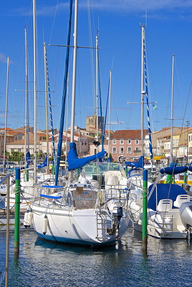 Boats in marina, Meze, Herault, Languedoc Roussillon region, France, Europe - 665-5429