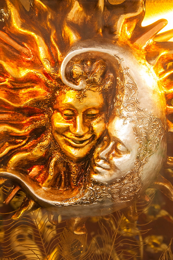 Moon and Sun carnival mask decorations, Venice, Veneto, Italy, Europe - 665-5463