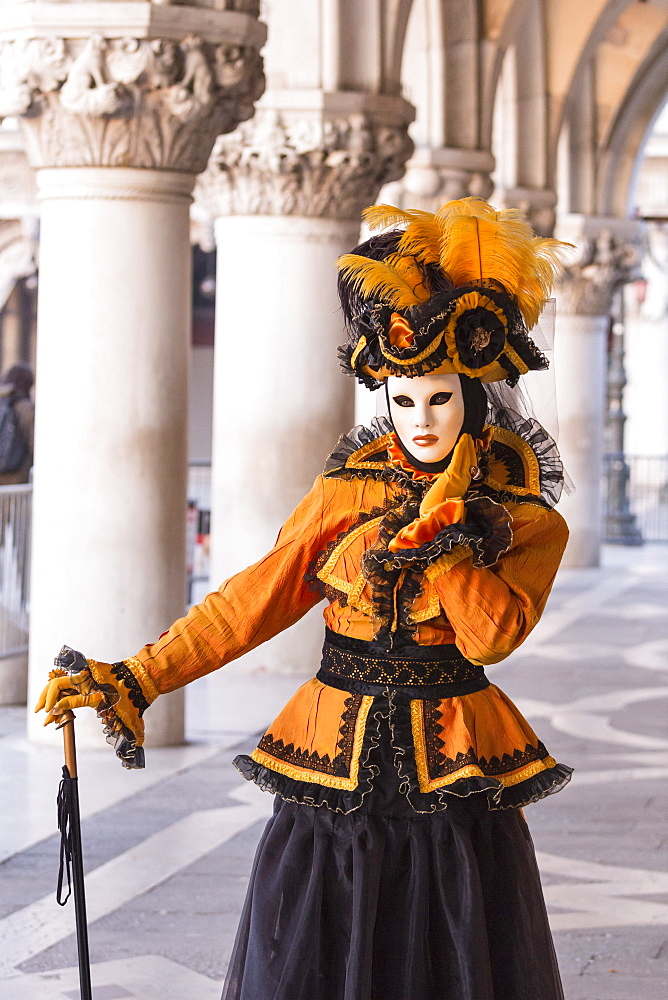 People in masks and costumes, Carnival, Venice, Veneto, Italy, Europe - 667-2581