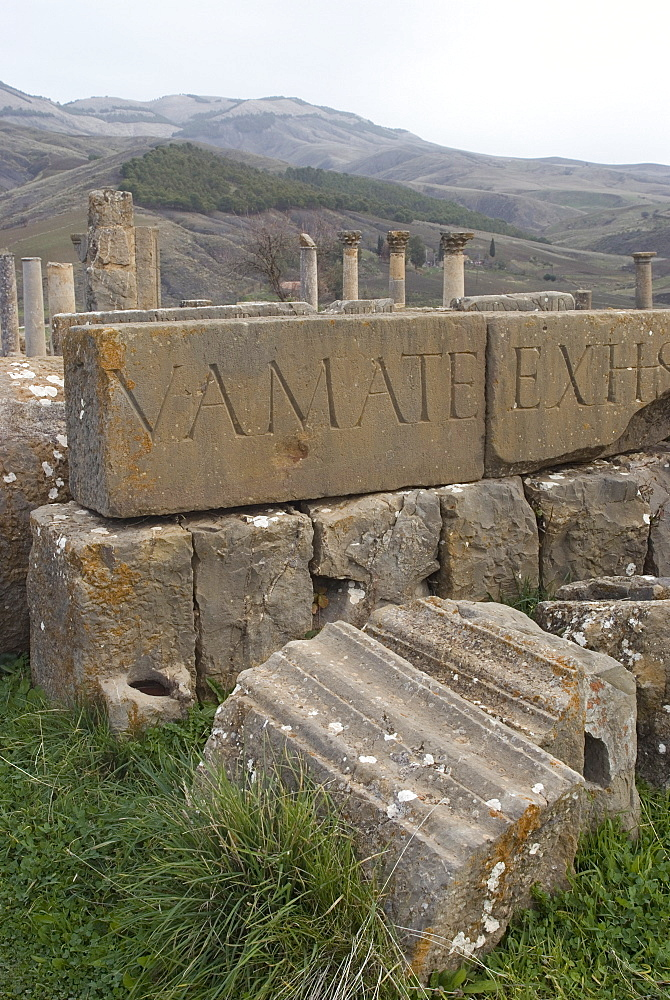Inscriptions at the Roman site of Djemila, UNESCO World Heritage Site, Algeria, North Africa, Africa