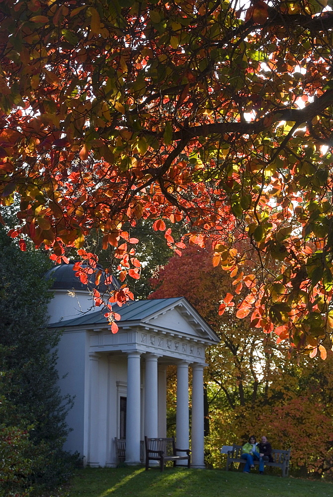 King William's Temple under autumn leaves, Kew Gardens, UNESCO World Heritage Site, Greater London, England, United Kingdom, Europe