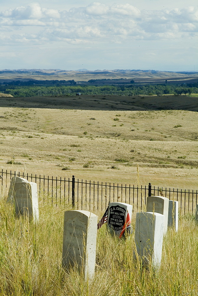 Site of massacre, including where Custer fell, Little Big Horn, Montana, United States of America, North America