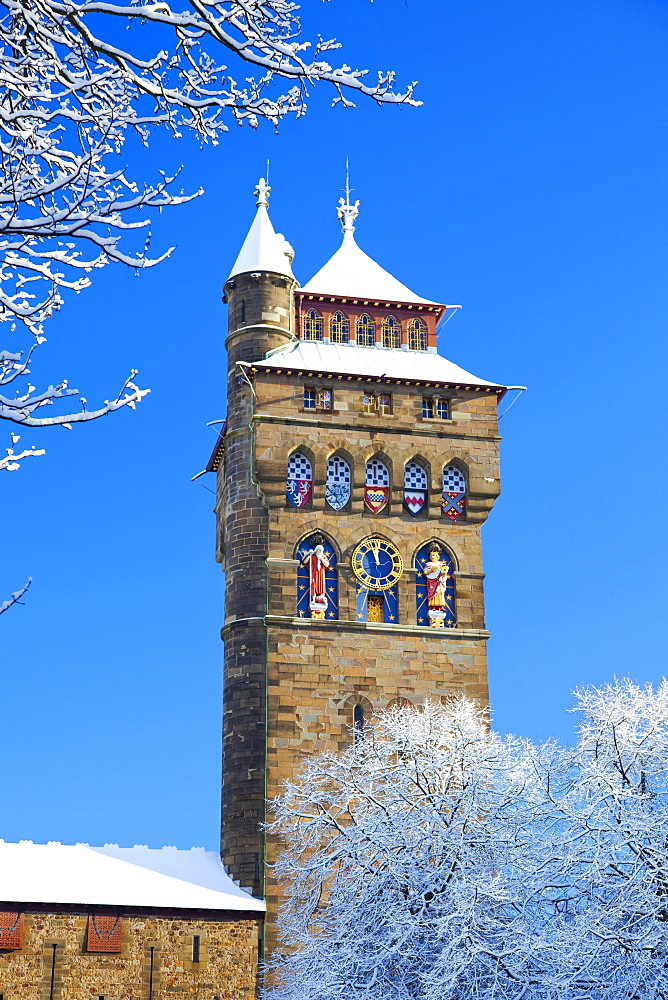 Cardiff Castle, Snow, Cardiff, Wales, UK