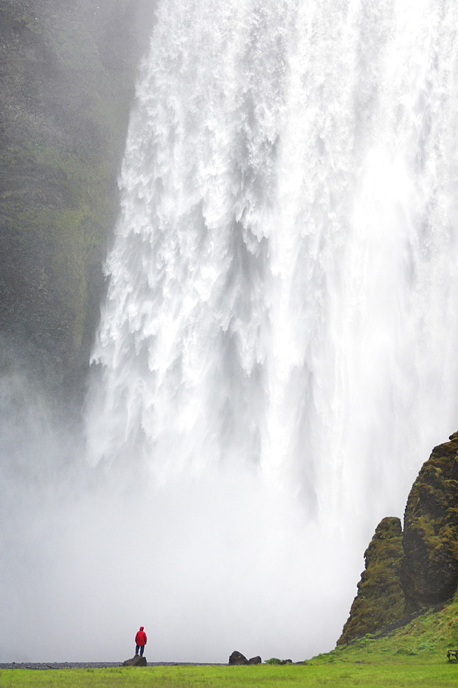 Tourist in red jacket at Skogafoss waterfall, Skogar, South area, Iceland, Polar Regions